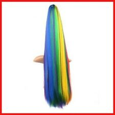 MapofBeauty Rainbow Colors Long Straight Clip on Ponytails Cosplay Wig Ponytails
