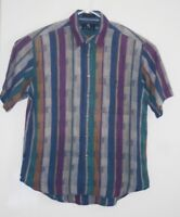 Vintage Enro Casual Button Up Shirt Purple Multi Color Size Large