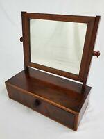 Antique Federal Flame Mahogany Dresser Shaving Mirror Drawer Dovetail Vanity