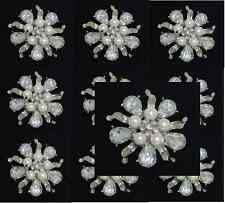 "10 SILVER TONE CREAM 2"" FAUX PEARL RHINESTONE CRYSTAL TEAR DROP FLOWER BROOCHES"
