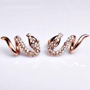 Exzellente Kristall Schlangen Damen Ohrstecker II vergoldet 21 x 12 mm