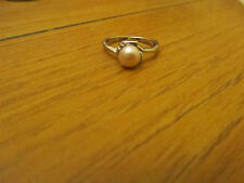 Costume Silver Tone & Shiny White Faux Pearl Ring in Size L