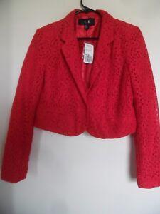 Rue 21 Crop Blazer Jacket Size Large Juniors Red Career NEW