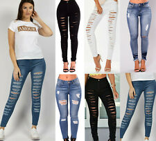 NEW LADIES HIGH WAISTED QUALITY RIPPED STYLES SKINNY JEANS UK SIZE 6-24