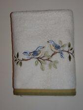Avanti White Green Embroidered Birds 100% Cotton Bath Towel SALE