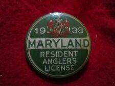 1938 Maryland Resident Anglers License Badge fishing