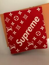 Louis Vuitton X Supreme Red Cashmere Wool/Cashmere Men's SCARF