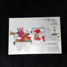 Vtg Mid Century SANTA Reindeer in Train USED CHRISTMAS CARD Norcross