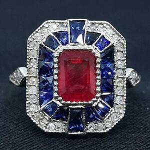$3,199 Antique Solid 14K White Gold 2.50ctw Ruby & Sapphire Old Cut Diamond Ring