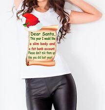Dear Santa Christmas Slogan Present Women T shirt Vest Top Funny Gift Idea Xmas