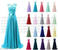 Long Chiffon Lace Formal Evening Party Ball Gown Prom Bridesmaid Dress Size 6~18