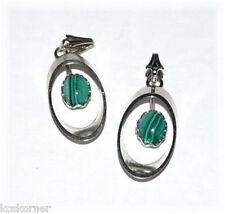 Pendants Malachite Oval Lot of Two Silver Plated