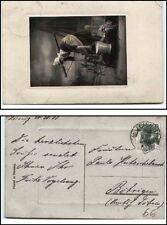 1908 AK ab LEISNIG nach Böhrigen Sachsen Motivkarte Waschfrau Holland Tracht