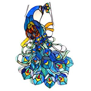 "MAGNIFICENT TIFFANY PEACOCK 25"" STAINED GLASS WINDOW PANEL *  Regal Suncatcher"