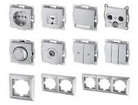 UP Schalterserie silber - Steckdose Taster Schalter Dimmer Dose Serie Programm