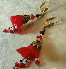 Victorian Style Dangle Earrings Red White Artisan Calla Lily Crystal Leverback