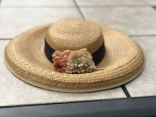 Vintage 1930s-40 Natural Straw Cartwheel Wide Brim Hat With Ribbon And Flowers