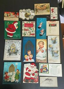 Lot o 16 Vintage/Antique Christmas Cards Victorian - Mid-Century Mostly