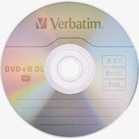 10 VERBATIM DVD+R DL AZO 8.5GB 8X Branded 97000 XBOX COMP MKM003 in paper sleeve