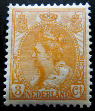 NED NVPH 56 Wilhelmina Bontkraag 3 Cent Oranje zeer fraai postfris CW 75,-