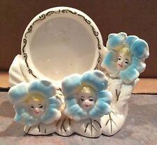 Vintage Ceramic Lipstick Holder / Frame Flowers w/ Faces Anthropomorphic - Japan