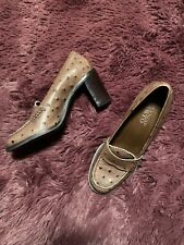 Franco Sarto Ostrich Embossed Heeled Loafers 6M