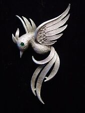 """JJ"" Jonette Jewelry Silver Pewter Winged Long Tailed Bird Pin"