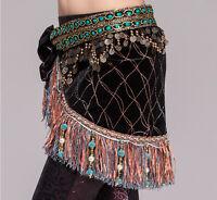new tribal velvet hip scarf copper coins Belly Dance costume hip scarf belt