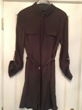New Look Shirt Dress Dark Olive Green size 10 D Ring Belt And Sleeve Detail