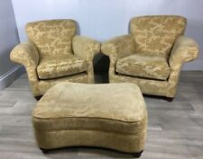 Pair Of Upholstered Armchairs With Pouffe, John Lewis