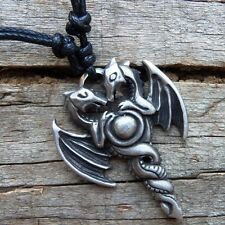 Celtic Norse Twin Dragon Wings Midevil  PEWTER PENDANT&Cotton Necklace #339