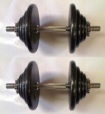 41KG Pro Dumbbell Set, 2 x 20½KG, Spinlock Bars, Slim Iron Weight Discs / Plates