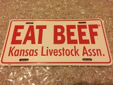 KANSAS COLLECTIBLE FARMERS EAT BEEF TAG COW WESTERN FRONT LICENSE PLATE TRUCK