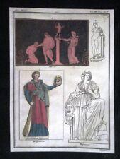 Marsia, Mercurio, Melpomene Incisione colorata a mano del 1820 Mitologia Pozzoli
