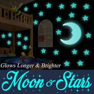 100 Glow In The Dark Plastic Stars Moon Ceiling Wall Art Luminous Space Stickers