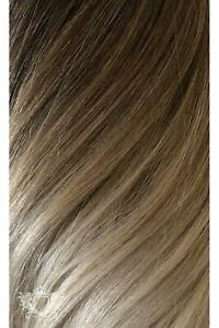 """Vanilla Frappe Ombre - Volumizer 16"""" Seamless Clip In Human Hair Extensions 50g"""