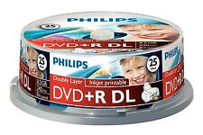 Philips DVD+R DL 240 Mins 8.5GB 8x Speed Inkjet Printable Blank Disc - 25 Pack