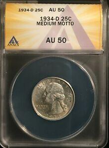 1934-D Washington Quarter == AU-50 ANACS == Medium Motto  == FREE SHIPPING !