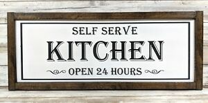 """Self Serve Kitchen """"Open 24 Hours"""" Rustic Wood Framed Sign / Farmhouse Decor /"""