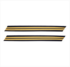 GENUINE U.S. ARMY SERVICE STRIPE: GOLD EMBROIDERED ON BLUE - FEMALE, SET OF 2