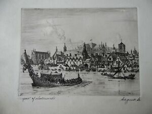 C17th Prospect of Westminster, Signed Aquatint Etching by W F Sedgwick.