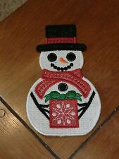 Embroidered Magnet - Christmas - Snowman W/Present - Large