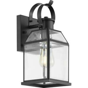 Progress Lighting Canton Heights 1-Light 13in. Matte Black Outdoor Wall Lantern