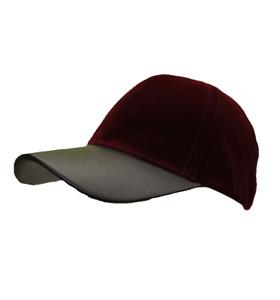 D&Y Women's Burgundy/Black Velour and Leather Adjustable Baseball Cap