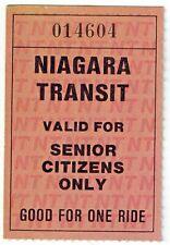 Niagara Transit Ticket - Good For One Senior Citizen Ride - Niagara Falls Canada