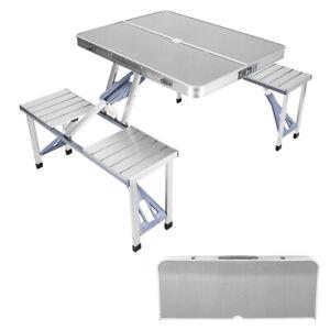 Aluminium Folding Camping Table With Stools Portable Outdoor Garden Picnic Set