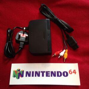 Power Supply + TV AV Audio Video Lead Cable For NINTENDO 64 N64 UK Seller