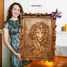 """39""""/99cm✅Wood carved picture❤️️Hunting painting-art-icon-panel-frame-lion-catch"""