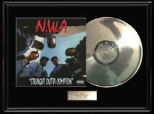Nwa N.W.A.Rare Framed White Gold Silver Platinum Tone Metalized Record Lp