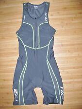 2XU SkinSuit TRIATHLON Womens Size LARGE Skin TRI Suit Shelf Bra FRONT Zip GRAY